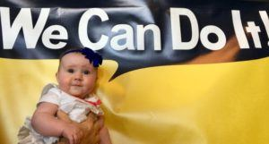 Six-month-old Rosie Brown visits the Rosie the Riveter Museum in Richmond, California. Image: Dr Anita Sands