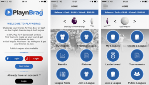 Screens from the Playnbrag app