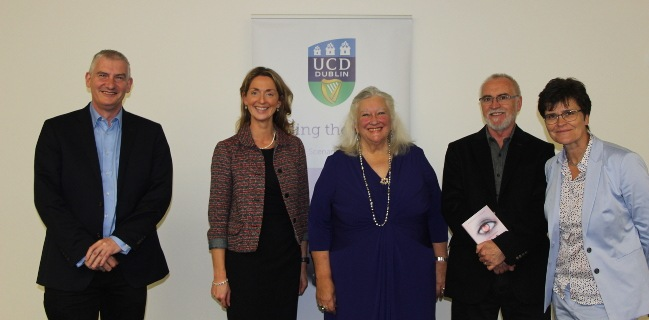 Prof Margaret Boden with the directors of the UCD Humanities Institute, UCD Institute for Discovery and the UCD Geary Institute for Public Policy. Image: Aleksandar Gubic