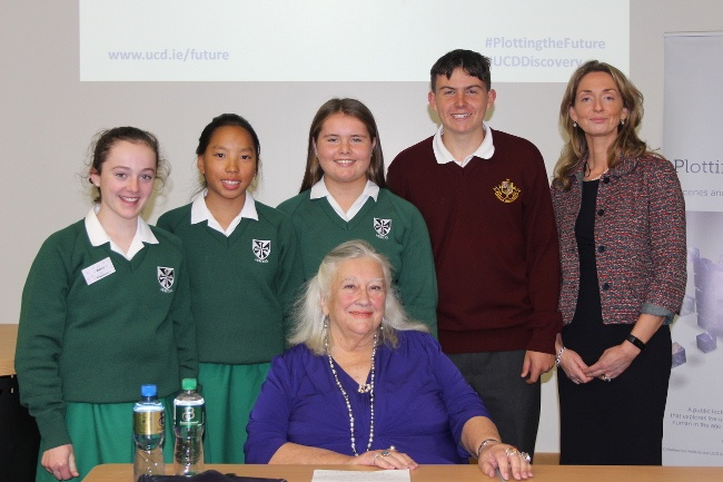 Prof Margaret Boden and Patricia Maguire, director of the UCD Institute for Discovery, with a group of schoolchildren before her talk at UCD. Image: Aleksandar Gubic