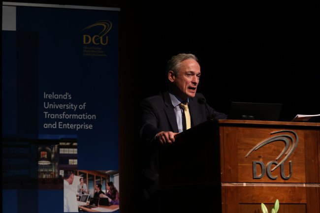 Minister Richard Bruton, TD, speaks at the launch of DCU's strategic plan. Image: Nick Bradshaw