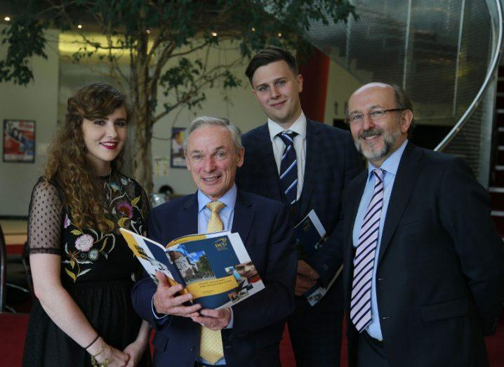 Minister Richard Bruton, TD (centre), and DCU president Prof Brian MacCraith (right) pictured with DCU students at the launch of the university's five-year strategic plan. Image: Nick Bradshaw