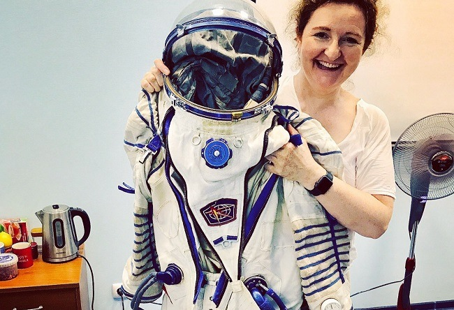 Niamh with cosmonaut space suit