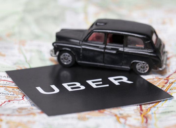 Uber logo on map of London