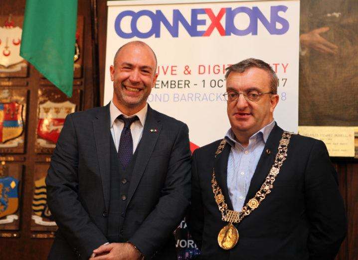Lionel Paradisi-Coulouma, deputy head of mission at the French Embassy in Ireland, with Lord Mayor of Dublin Mícheál MacDonncha at the ConneXions launch
