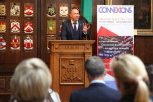 Lionel Paradisi-Coulouma, deputy head of mission at the French Embassy in Ireland, launches ConneXions at the Mansion House, Dublin