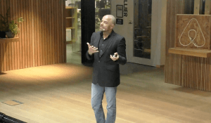 Airbnb CMO Jonathan Mildenhall speaking at the company's Dublin HQ in May 2017