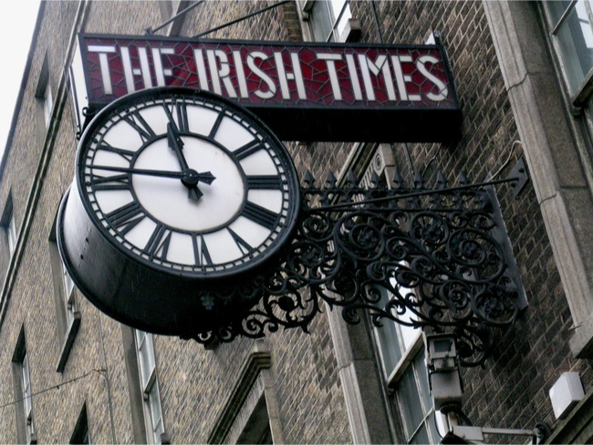 The Irish Times clock, originally mounted at the old newspaper headquarters on D'Olier Street, Dublin. Image: Michele Buzzi/Shutterstock