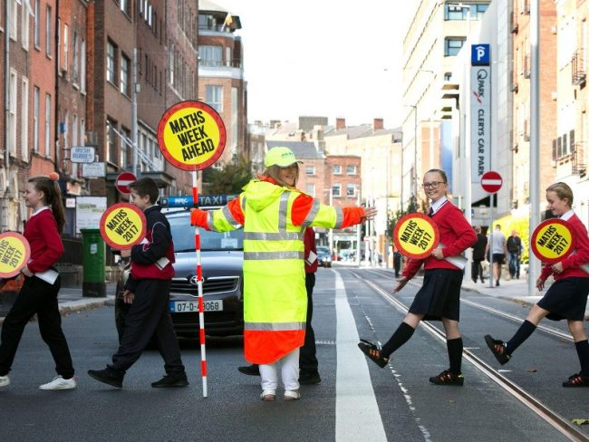 School traffic warden Sheila Blake with Jadine Rock, Dylan Dunne, Brooke Robertson and Tameron O'Brien of Rutland National School at the launch of Maths Week Ireland. Image: Shane O'Neill/SON Photographic