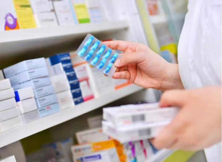 Antibiotics on a pharmacist's shelf