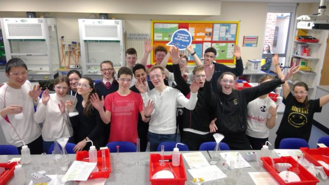 Students from Cheltenham College completing their experiments for Project M, a large-scale school citizen science project. Image: Cheltenham College Chemistry Department/Twitter