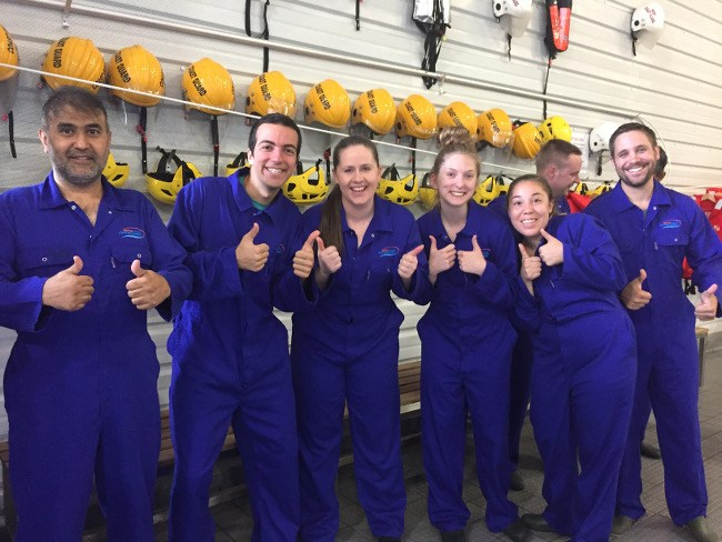 Niamh Áine Higgins (centre) with her fellow Human Performance in Space team following a high-stress day of gruelling physical astronaut training at the National Maritime College of Ireland