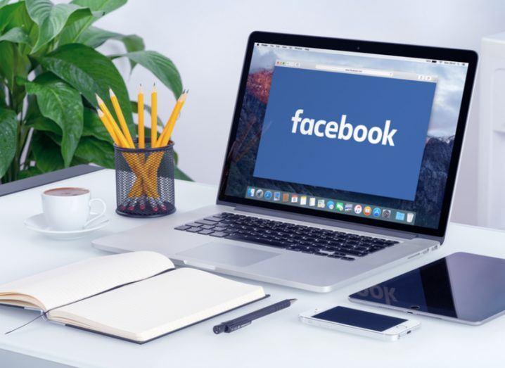 Facebook on a laptop computer