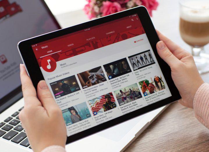 YouTube web app on iPad