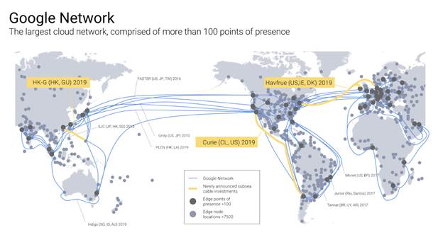 Google Cloud fibre cable project map