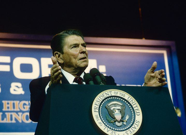 Ronald Reagan talks about his US tax reform policy at an event in 1985