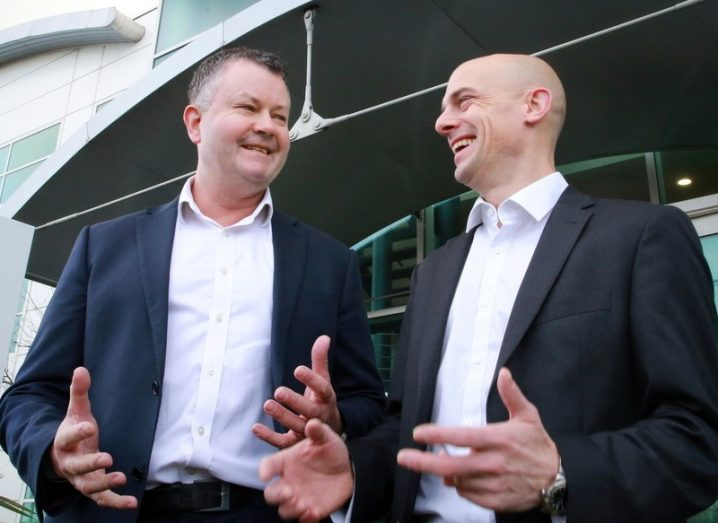 Tim Crowe; Engineering & IT Director at Actavo with Keith McGovern; Client Manager; Auxilion in the Actavo HQ Dublin 12.