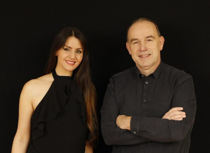 From left: Dr Nora Khaldi in a black dress and Emmet Browne in a black shirt.