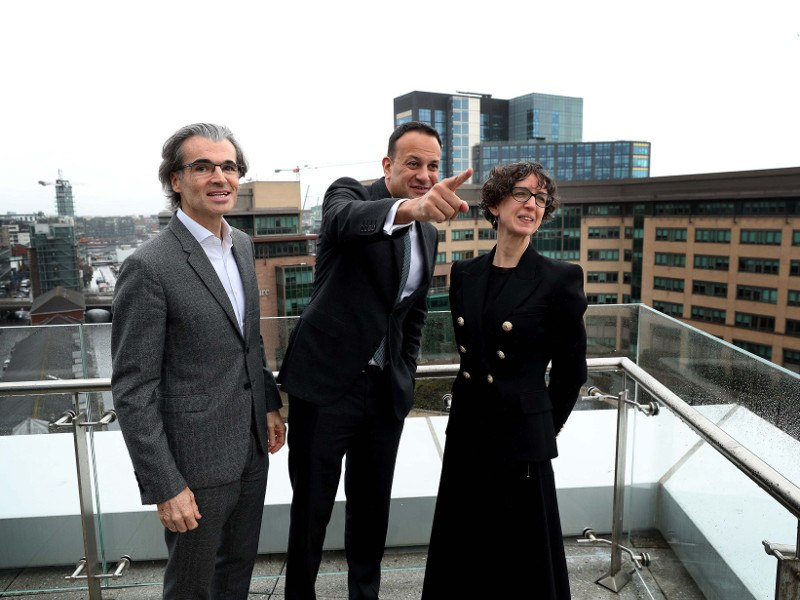 From left: Gareth Morgan, vice-president of Google Cloud sales; An Taoiseach Leo Varadkar, TD; and Fionnuala Meehan, vice-president and head of Google in Dublin. Image: Robbie Reynolds