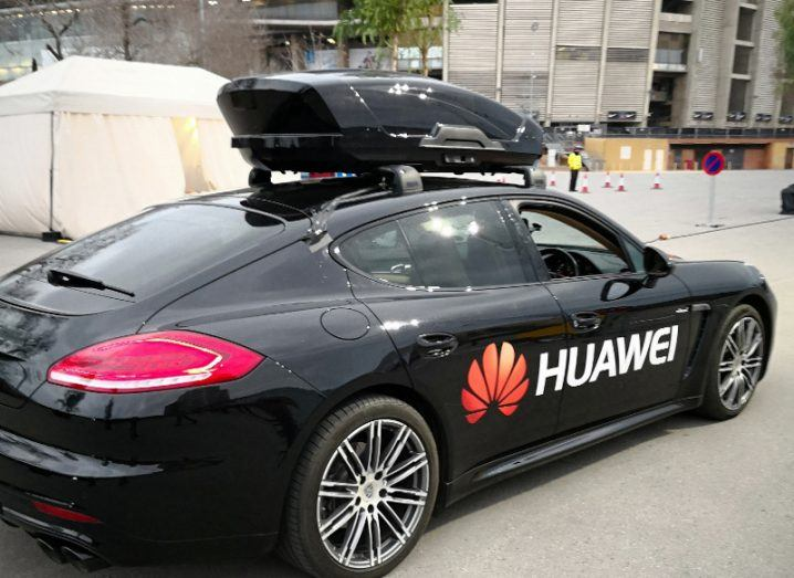 Self-driving car experience combining a Porsche with a Huawei smartphone