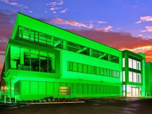 Interxion's 'green' data centre lit up for St Patrick's Day