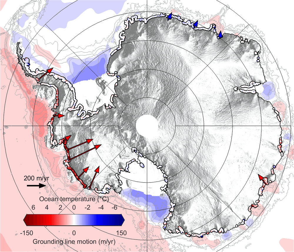 Map showing rates of grounding-line migration in Antarctica
