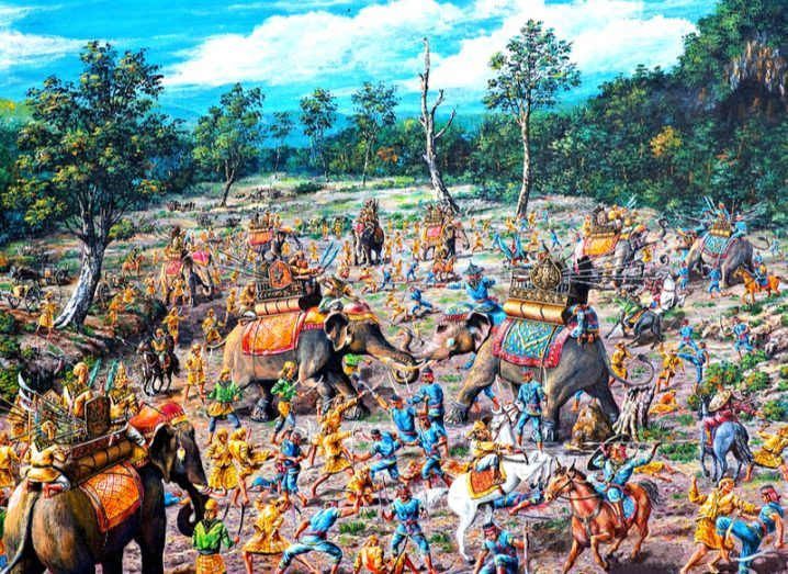 Painting of an ancient battle