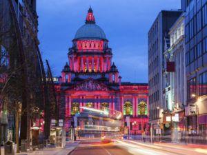 Illuminated Belfast City Hall at evening. Belfast, Northern Ireland