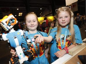 From left: Edie McPhillips (7) and Zoe Goodbody (7) from Wicklow Town with their project titled 'Daisy's got talent'
