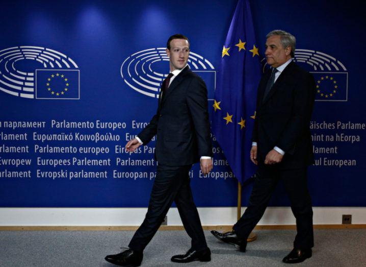 Mark Zuckerberg meeting EU Parliament president Antonio Tajani