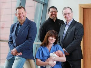 Clockwise from left: Frank Walsh, partner, Enterprise Equity Bill Liao, European investment partner, SOSventures, Charles Garvey, CEO, Metabolomic Diagnostics Prof Louise Kenny, consultant obstetrician at CUMH & Director of the Infant Centre
