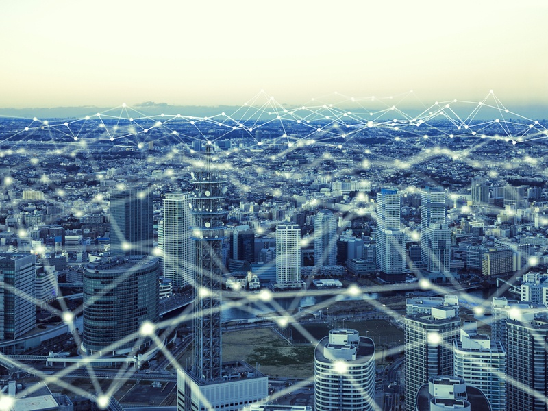 City connected by IoT devices