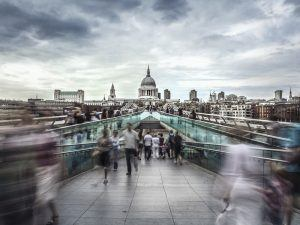 Millennium Bridge leads to Saint Paul's Cathedral in central London