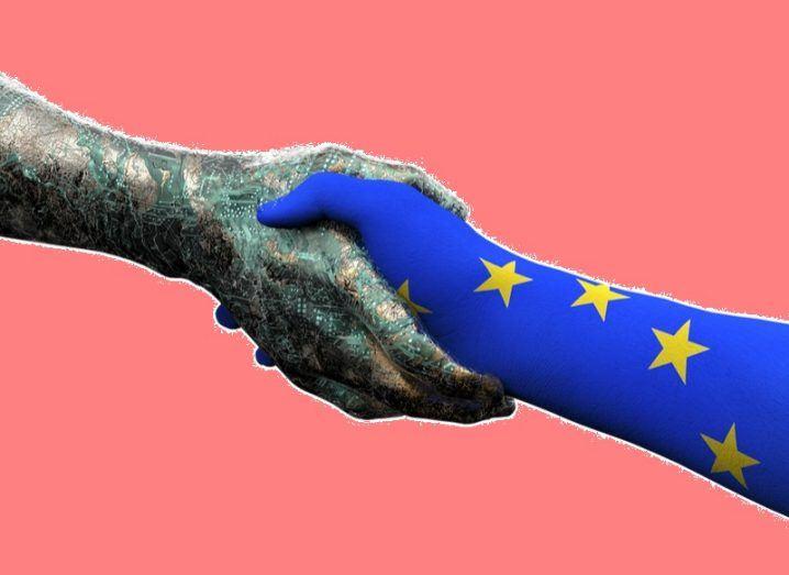 EU hand shaking robot hand