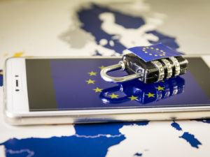 image of a phone with european flag and combination lock