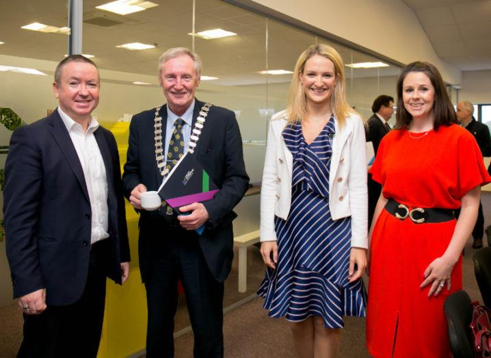 From left: Gary O'Meara, CEO, Meath Enterprise; Cllr Gerry O'Connor, cathaiorleach, Meath Co Co; Minister for State for European Affairs Helen McEntee, TD; and Rebecca Meade, project co-oordinator, Meath Enterprise. Image: Kells Tech Hub