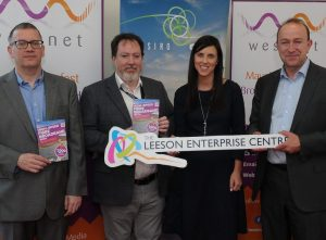 From left: Brendan Minish, Westnet CTO; Paul Cunnane, Westnet CEO and co-founder; Stephanie Colombani, Westport Chamber CEO; and Stephen O'Connor, SIRO's director of corporate affairs at the official opening of Westport's Leeson Enterprise Centre. Image: Edelman Ireland