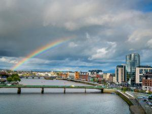Rainbow over Limerick city and Shannon river