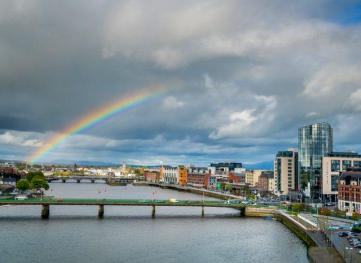 A rainbow is seen in the clouds above Limerick city