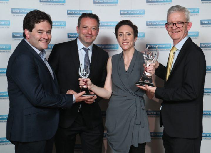 Gavin Kelly, CEO Retail Ireland, Bank of Ireland with Anita Finnegan, founder of Nova Leah who won the Grand Prix Award which included a €10,000 cash prize and was named overall winner in the Emerge-Tech Startup category along with Stephen Dillon, founder of Startups.ie and Joe Healy, HPSU Divisional Manager, Enterprise Ireland.