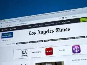 Image of the LA Times website homepage