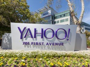 Yahoo sign outside its headquarters in California