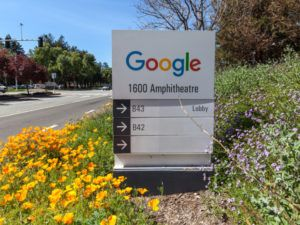 A Google sign at its Mountain View headquarters