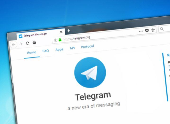 Telegram app on a desktop computer