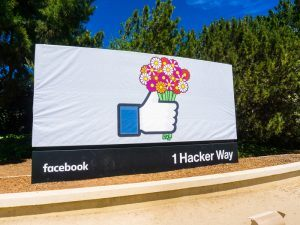 Entrance to Facebook's Menlo Park office.