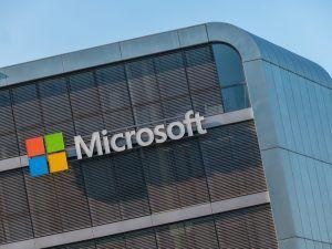 Microsoft logo on building.