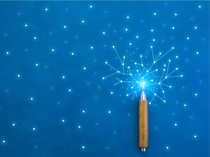 Lines from a wooden pencil connect bright dots on a blue texture background