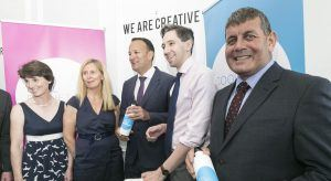 Crowley Carbon jobs announcement. From left: Sarah Slazenger; Vicky Brown, CEO at Cool Planet Experience, An Taoiseach Leo Varadkar, TD; Minister for Health Simon Harris, TD; Andrew Doyle, TD. Image: Paul Sherwood Photography