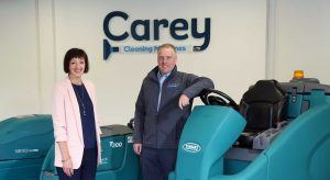 From left: Moira Loughran, eastern and north eastern regional manager at Invest NI; William Carey director at Carey Cleaning Machines. Image: Invest NI. NI manufacturing firm jobs.