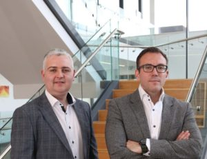 From left: AuriGen Medical founders, Tony O'Halloran, chief technology officer, and John Thompson, chief executive officer, at their office in NUI Galway. Image: Aengus McMahon
